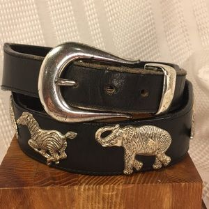 Honest leather/silver animals solid brass buckle